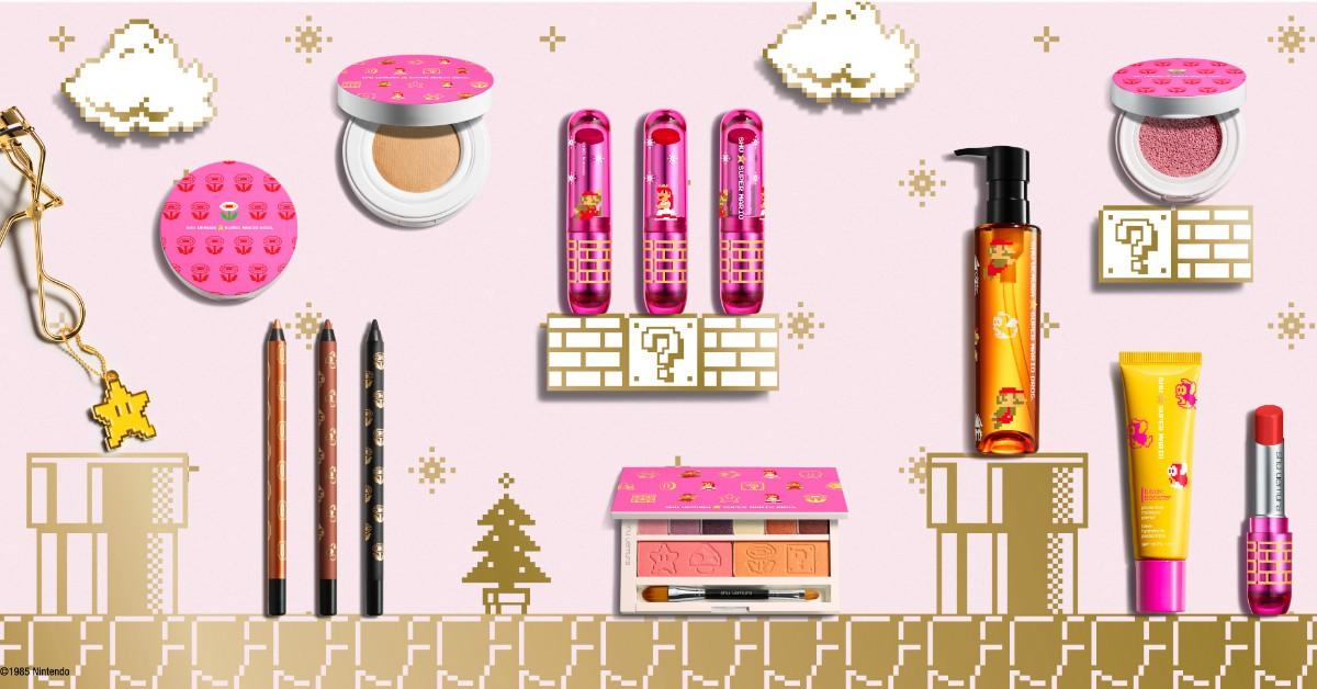 無敵星星、蘑菇、碧姬公主...,植村秀「超級瑪利歐」聖誕彩妝,可愛到每一個都想納入口袋清單!