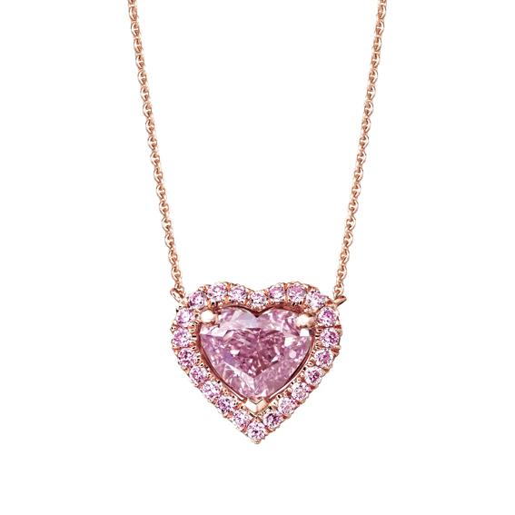 Aura 心形車工紫粉紅鑽石鍊墜,4,490,000元。