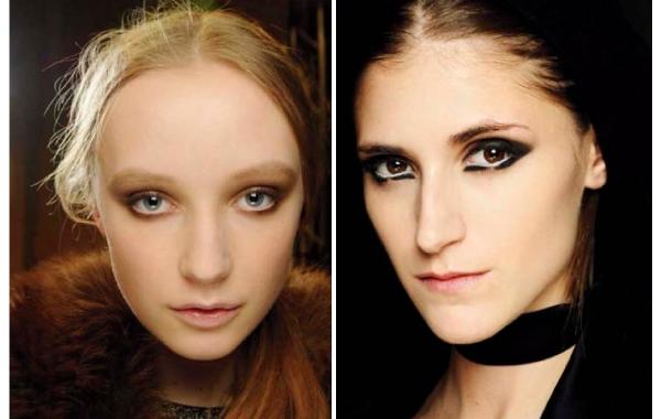 左:秀場上一樣以簡潔沒有過度修飾的自然粗眉搭配粉嫩的膚質,讓彩妝質感更顯裸透純淨。右:根根分明又細緻的眉毛讓眼神展現銳利度,使眼妝更顯現代摩登感。圖片來源/各品牌、M.A.C