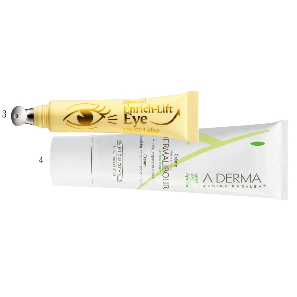 3.Dr.Ci:Labo緊緻提拉抗皺眼霜,緊緻複合配方提升眼部的彈力,15g,1,600元。 4. 艾芙美燕麥刺激性肌膚保護霜,改善肌膚的乾燥狀況,50ml,580元。