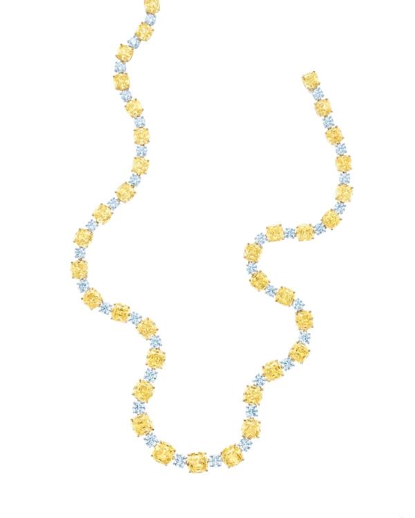 Tiffany黃鑽與白鑽項鍊