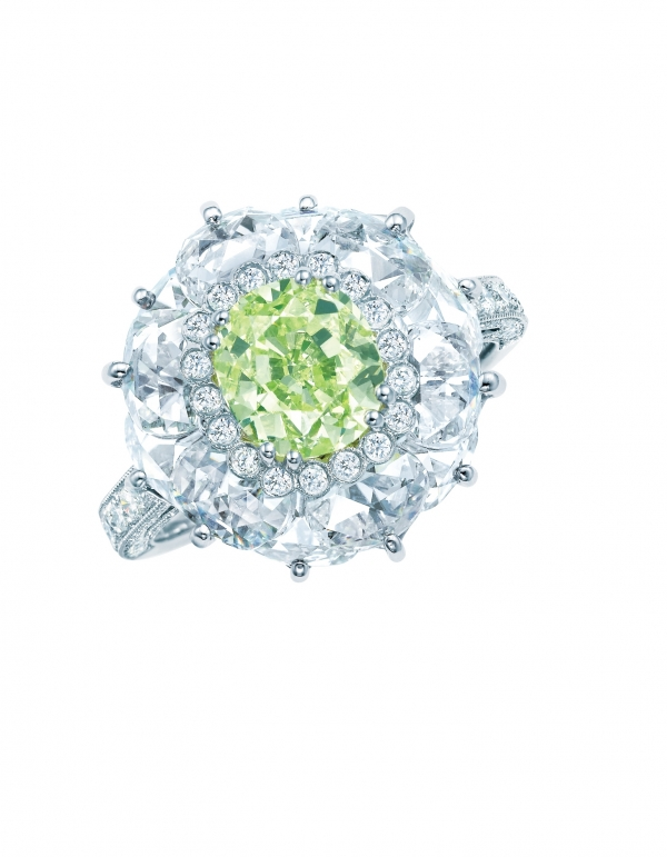 Tiffany 1.75克拉黃綠色鑽石戒指