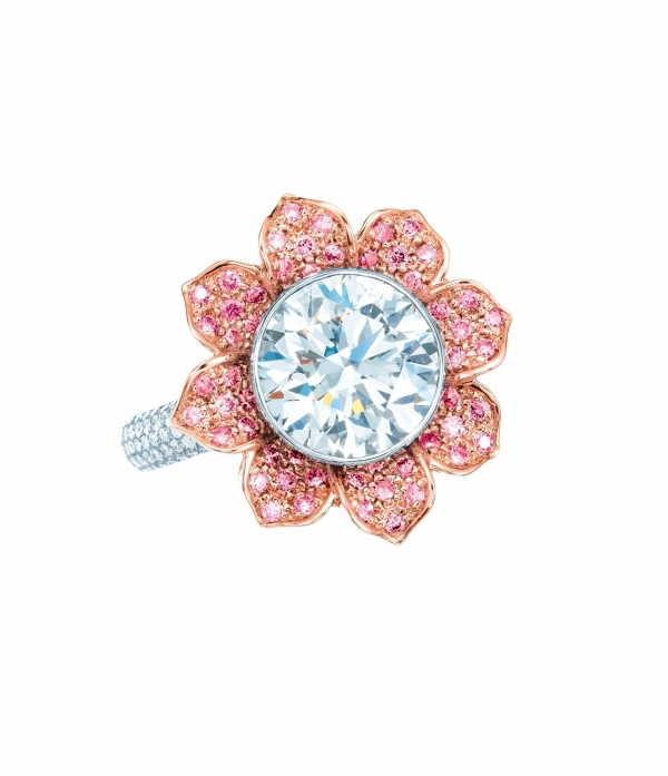 Tiffany 3.09克拉圓形鑽石與粉紅鑽石花朵戒指