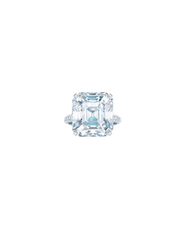 Tiffany 14.41克拉祖母綠切割鑽石戒指