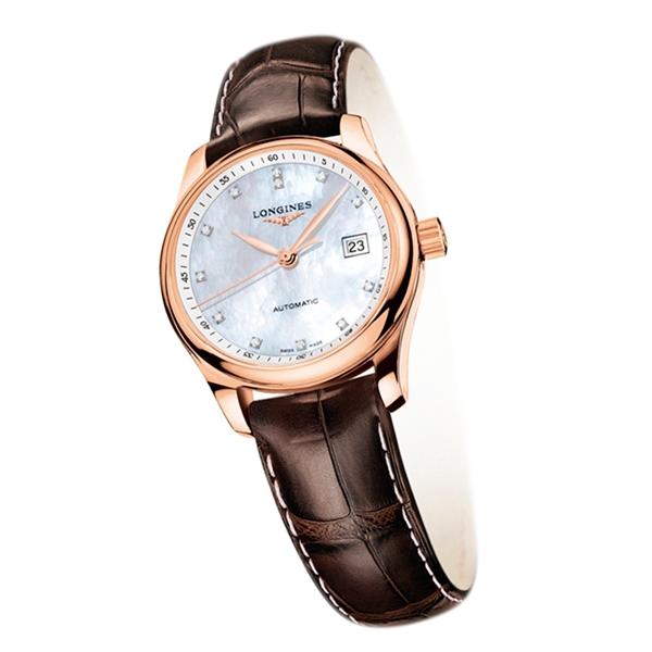 Longines 巨擘系列玫瑰金鑲鑽女錶,145,200元。