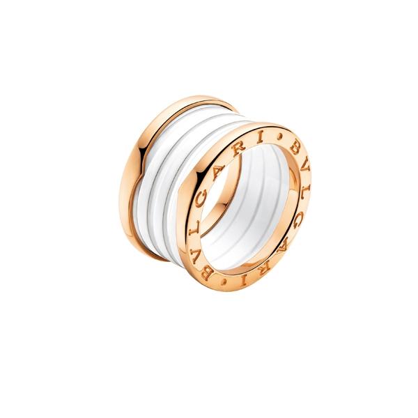 BvlgariB.zero 1玫瑰金搭配白陶瓷戒指,42,100元。