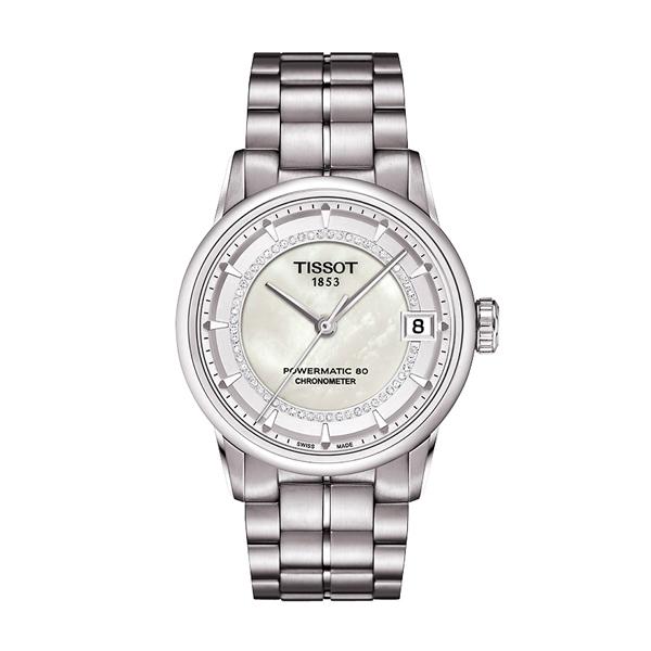 Tissot 瑞士官方天文台認證典藏80女裝機械鑽錶,46,400元。