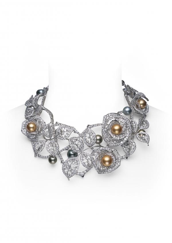 Rose Garden 黃金珠黑真珠鑽石項鍊