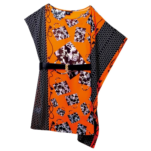 iRoo印花不對稱短洋裝,2,580元。