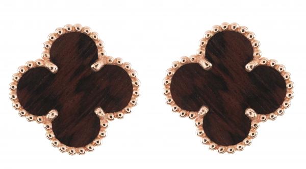 Vintage Alhambra耳環,玫瑰金鑲嵌蛇紋木。