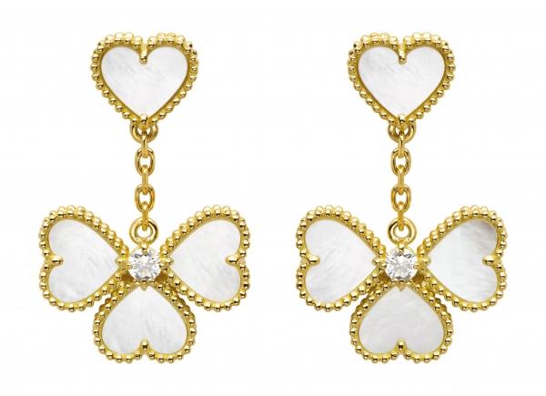 Sweet Alhambra Effeuillage耳環,黃K金鑲嵌白色珍珠母貝及鑽石