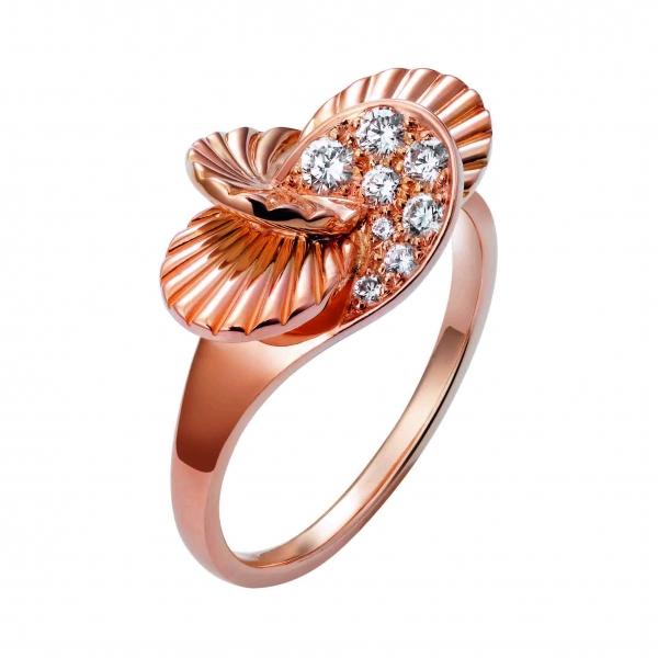卡地亞Paris Nouvelle Vague系列Impertinente戒指,玫瑰K金鑲嵌鑽石,參考價格約NT$ 156,000。