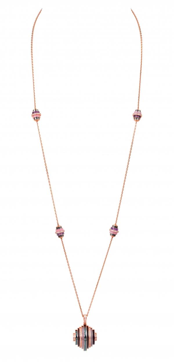 卡地亞Paris Nouvelle Vague系列Affranchie項鍊,玫瑰K金鑲嵌鑽石、赤鐵礦、紫水晶、煙晶與粉紅蛋白石,參考價格約NT$ 1,510,000。