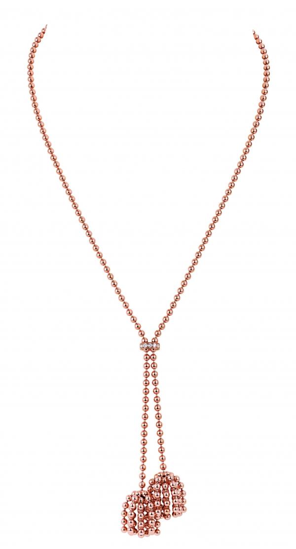卡地亞Paris Nouvelle Vague系列Pétillante項鍊,玫瑰K金鑲嵌鑽石,參考價格約NT$ 515,000。