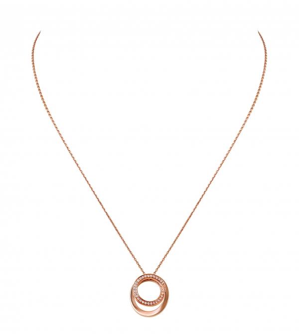 卡地亞Paris Nouvelle Vague系列Délicate項鍊,玫瑰K金鑲嵌鑽石,小型款參考價格約NT$ 145,000。