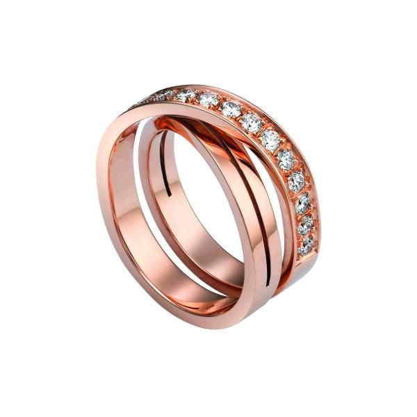 卡地亞Paris Nouvelle Vague系列Délicate戒指,玫瑰K金鑲嵌鑽石,參考價格約NT$ 185,000。