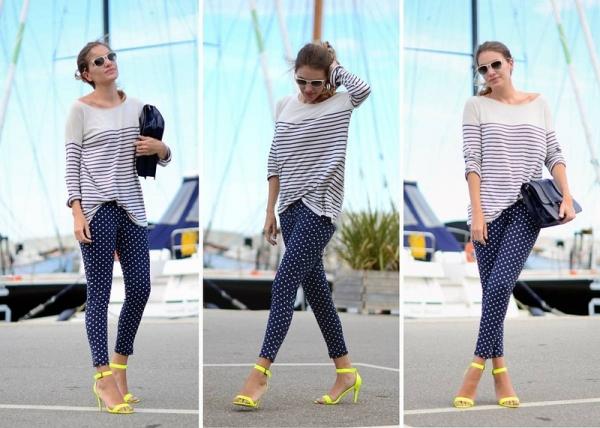 休閒條紋、點點與螢光黃繫踝涼鞋的完美衝突