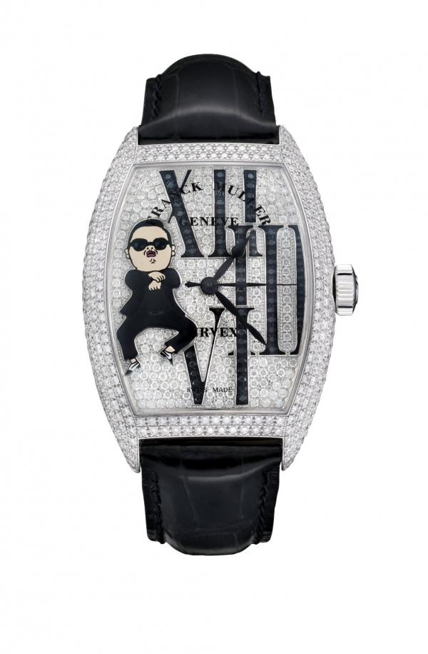 騎馬舞大叔的漫畫版位於腕錶左半部