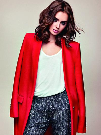 女星Lily Collins的招牌粗眉搭配她的甜美外表,毫無違和感,反而更顯年輕