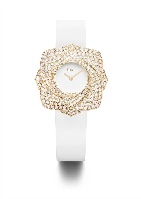 Piaget Limelight Blooming Rose 玫瑰金鑲鑽腕錶,1,550,000元。