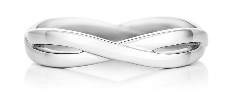 De  Beers Infinity 白K金戒環 (3mm)。