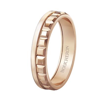Quatre Radiant系列,玫瑰金窄版戒指,價格店洽。