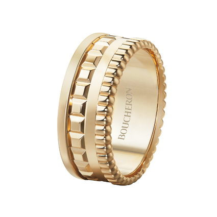 Quatre Radiant系列,黃K金戒指,價格店洽。