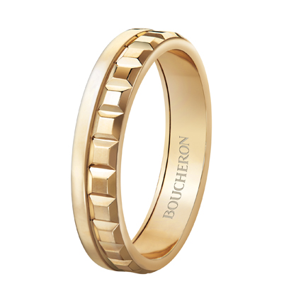 Quatre Radiant系列,黃K金窄版戒指,價格店洽。