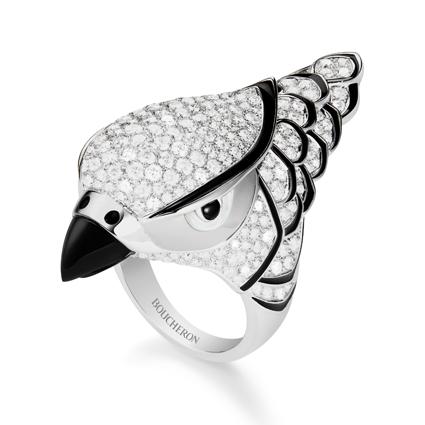 「Animaux」(動物)系列,Faucon 鑲嵌鑽石獵鷹造型戒指,1,950,000元。