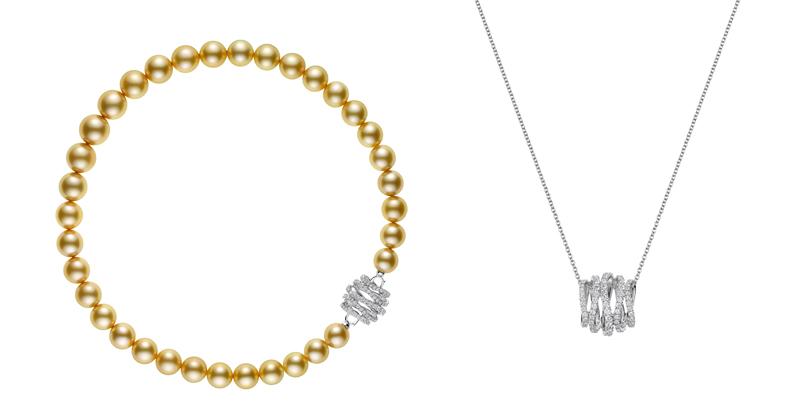(左) MIKIMOTO Day and Night 系列,南洋黃金珍珠18K白金鑽石串鍊,1,450,000元。 (右) 可將串鍊的鑽石釦頭,卸下搭配18白K金鍊,成為別緻的墜鍊。