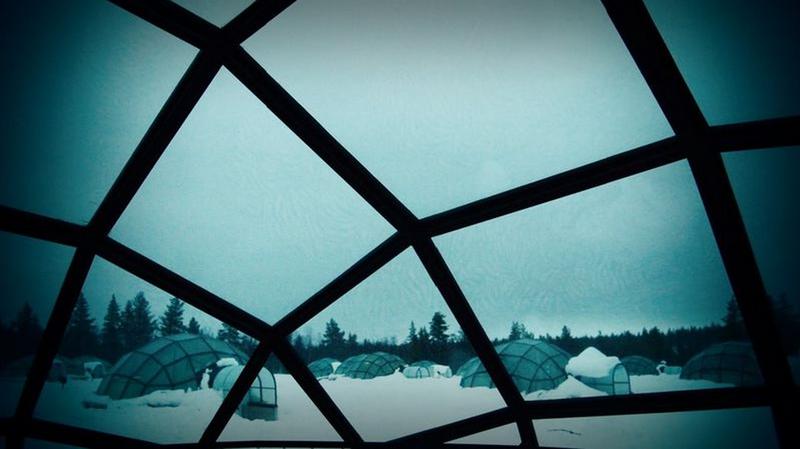 從玻璃屋往外看,像是躲進了一個溫暖的保護膜~