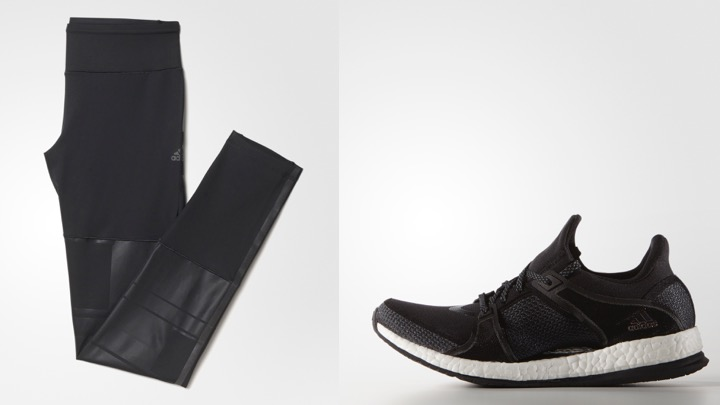 Adidas CLIMALITE®強力包覆緊身褲 Adidas AP9529 NT$2,290; Addidas PureBOOST X TR訓練鞋 AQ1970 NT$4,290