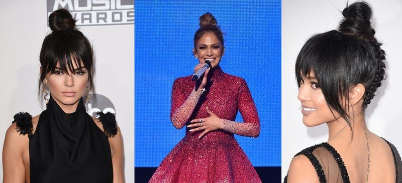 丸子頭(左)坎達爾珍娜Kendall Jenner(中)珍妮佛羅培茲Jennifer Lopez(右)Karrueche Tran