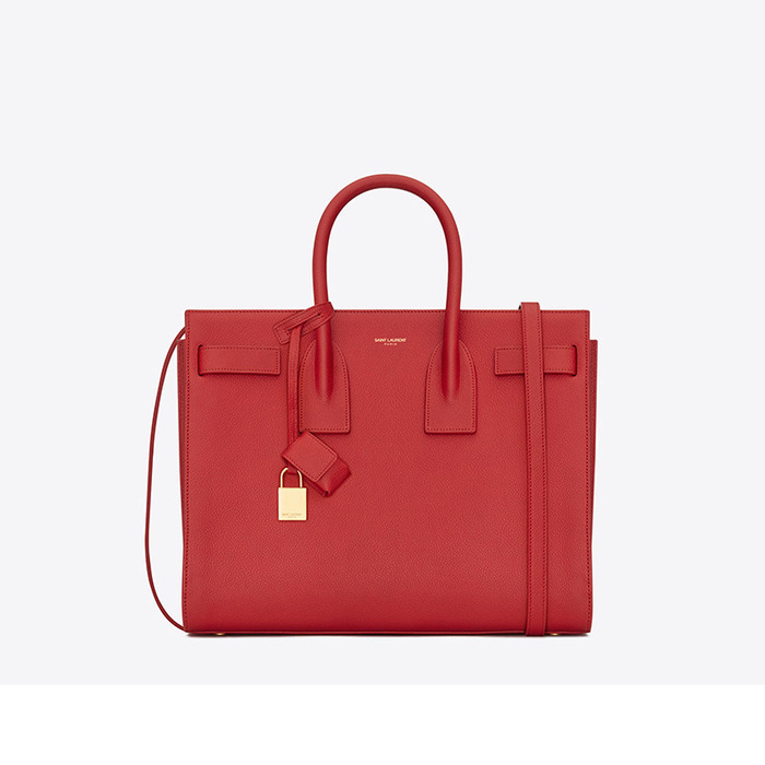 SAINT LAURENT SAC DE JOUR 珊瑚紅手提包,92,950元。