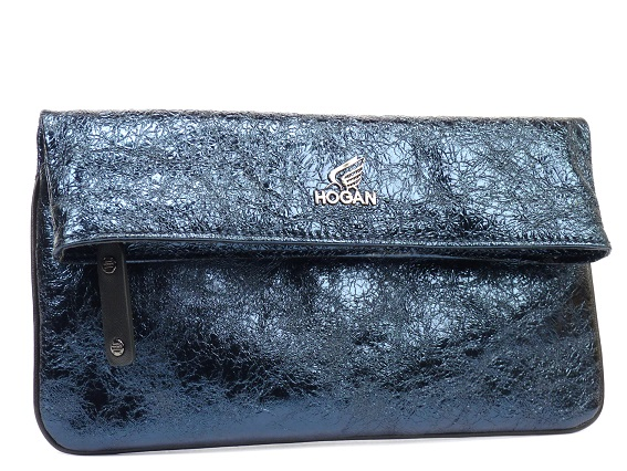 Hogan Print 藍色金箔羊皮肩背手拿包,NTD18,900。