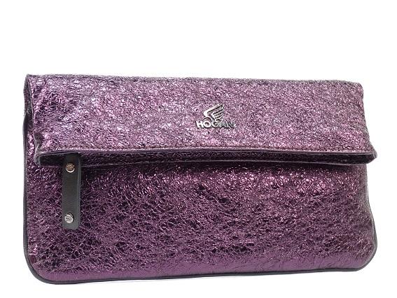 Hogan Print 紫色金箔羊皮肩背手包,NTD18,900。
