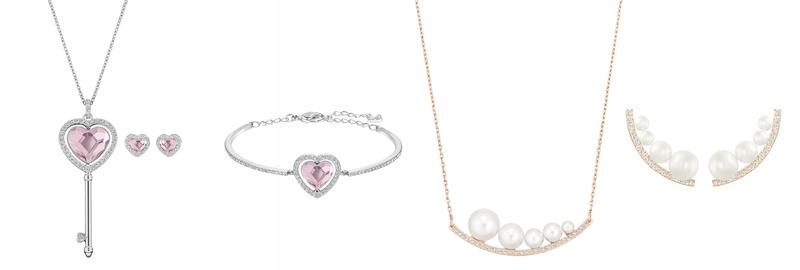 Engaged 愛心手鐲 NT$5,990, Engaged 項鍊&耳環套裝 NT$7,990; Fundamental 珍珠項鏈 NT$4,490, 穿孔耳環 NT$3,490