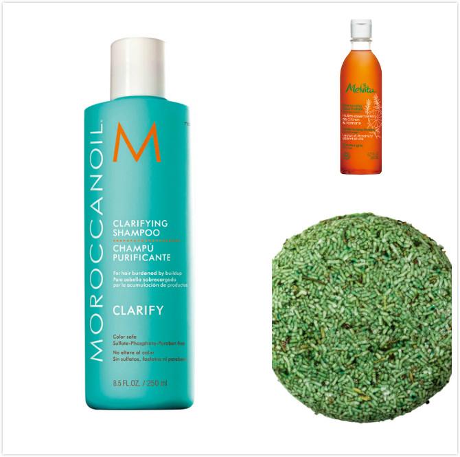 Moroccanoil優油深層淨化洗髮露,250ml,900元;Melvita 歐盟BIO淨化洗髮精 ,200ml,580元;LUSH 綠光精靈洗髮餅,55g,369元。