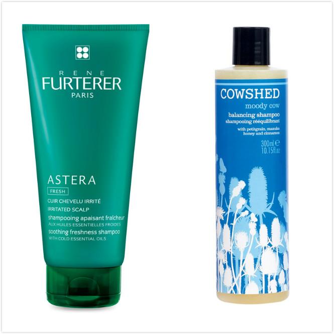 RF Astera紫苑草舒緩髮浴 200ml,1,380元;COWSHED悶悶牛平衡洗髮乳,300ml,1,100元。