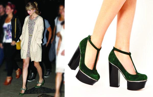 由泰勒絲(Taylor Swift)示範的墨綠色瑪麗珍復古鞋,更加大吹可愛少女風!