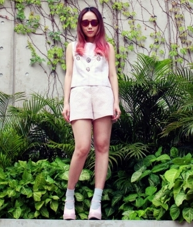 JessicaRED embellished top and shorts Tabio socks Alexander Wang mary jane heels Carrera sunnies