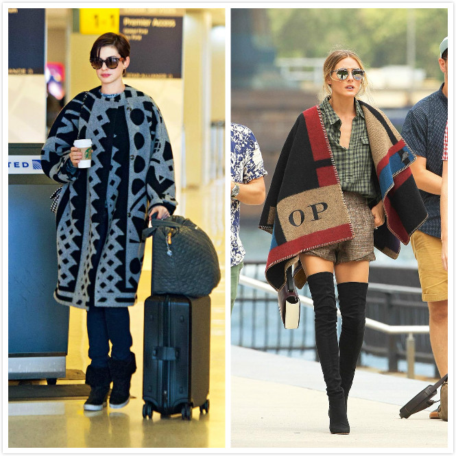 影星安海瑟薇Anne Hathaway穿著佈滿圖騰符號的落肩大衣,天后珍妮弗洛佩茲Jennifer Lopez偏好的流蘇短靴